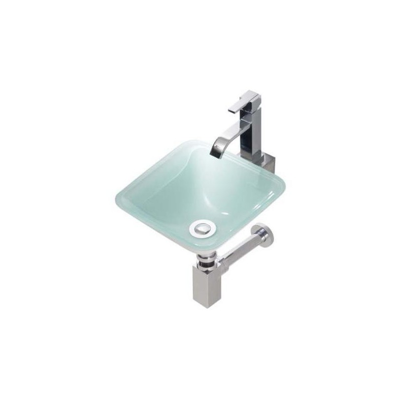 Lavabo en cristal rs 300x300x120mm grifer as rome - Encimera lavabo cristal ...