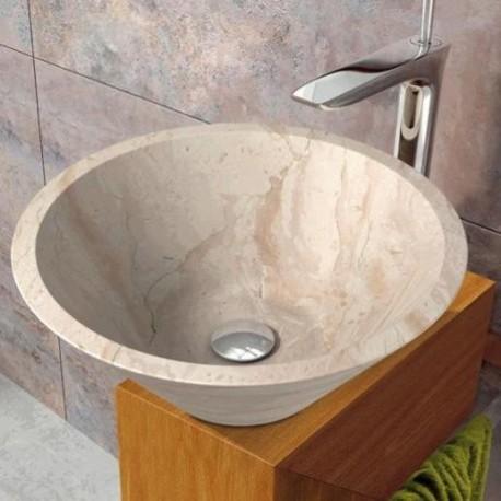 Lavabo en piedra conico beige 405x160mm grifer - Lavabos de piedra rusticos ...