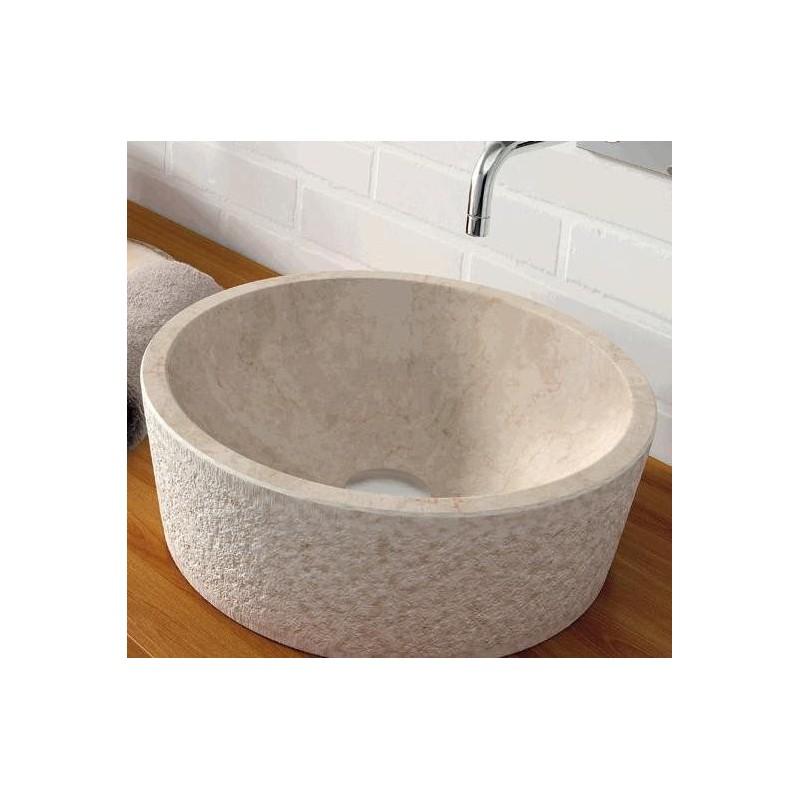 Lavabo en piedra dual beige 405x130mm grifer as rome for Lavabo sobre encimera piedra