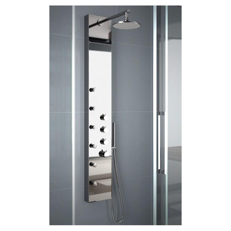 Columna hidromasaje square cromo inox termostatica for Columna termostatica