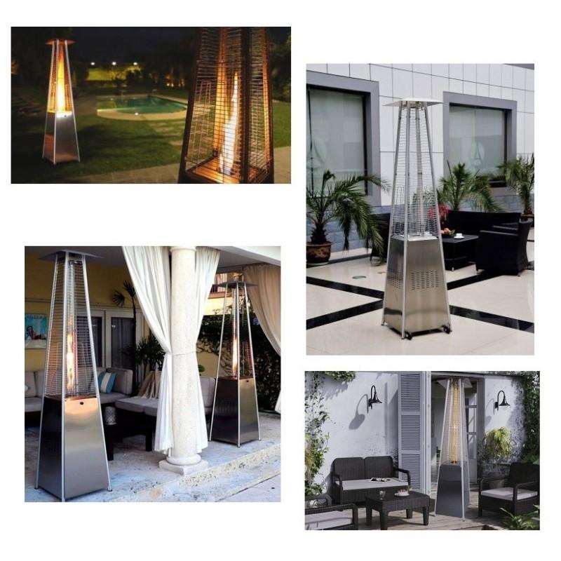 Estufa exterior de butano o propano pir mide plata con - Estufa de terraza ...