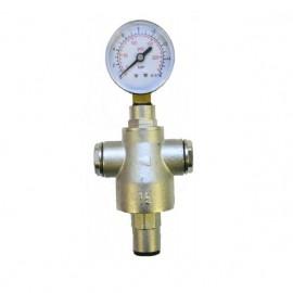 Válvula reductora de presión 1/2x1/2 con reducciones a 3/8 y manómetro