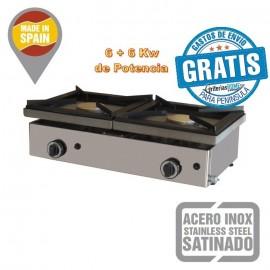 Cocina a Gas Sobremesa alta potencia 2 Fuegos 6 + 6 Kw