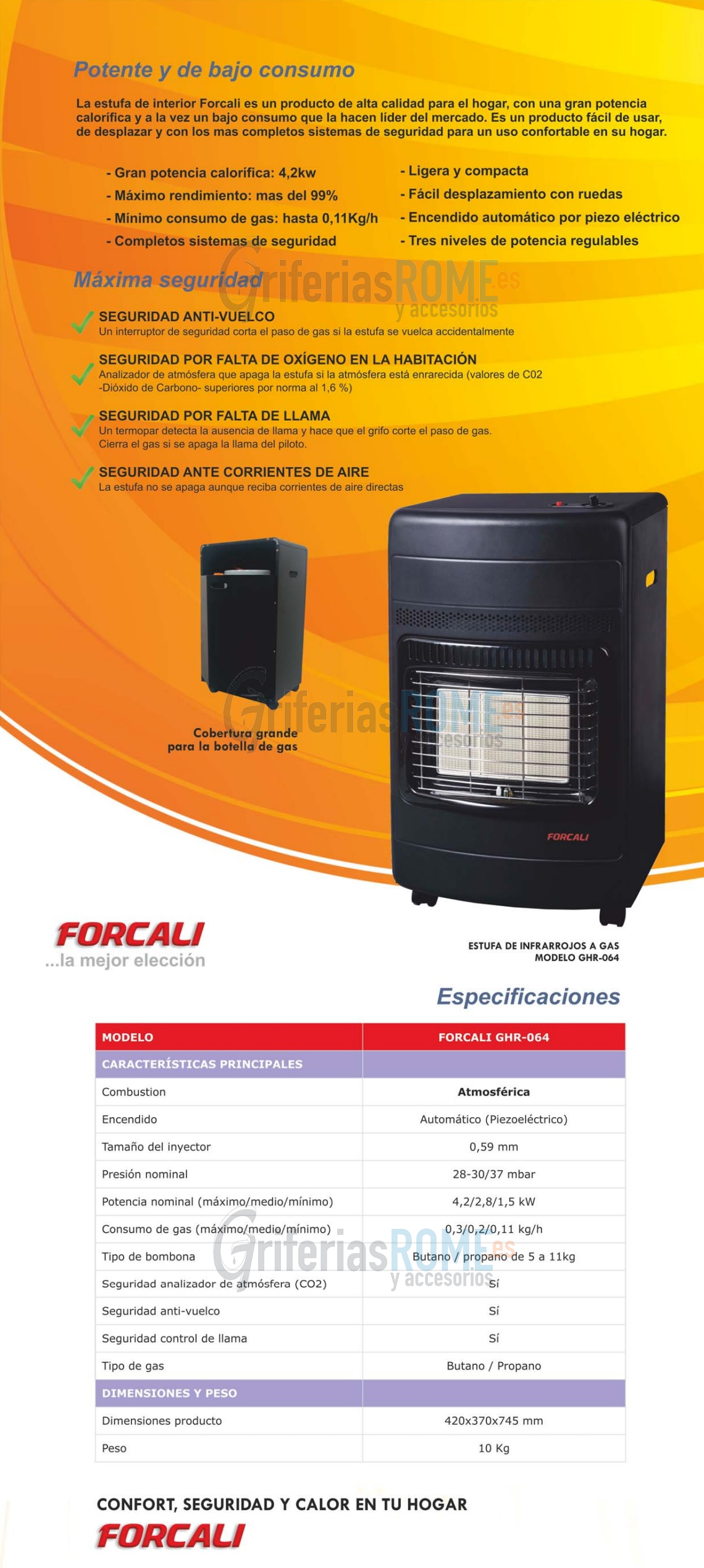 Estufa infrarrojos a gas forcali Estufas de bajo consumo